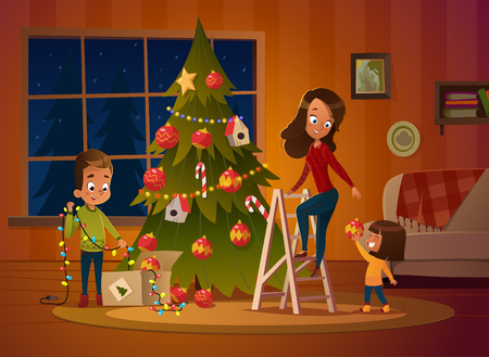 Happy family mom and two children dresses up Christmas tree. The boy unwinds the garland. Family in Christmas sweaters decorate the house for the holiday in a cozy winter evening. Vector illustration Banque d'images - 109900671
