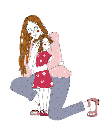 Young redhead woman cuddle preschool girl. Mother huggs her little doughte and express care and love. Happy Mothers day. Family embrace. Colored fashion illustration for poster, banner, magazine. 向量圖像