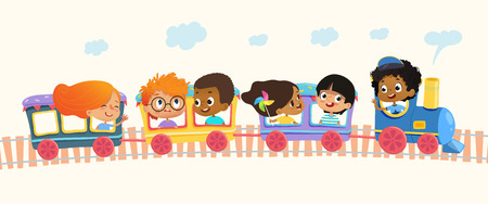 Multiracial School kids boys and girls laughing and traveling by colorful train on a green hills. Vector. Isolated. Can be used for web, poster, banner.