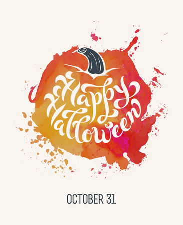 Watercolor abstract splash stain in the shape of the pumpkin with brush calligraphy Happy Halloween. Could be used as poster, card or banner template. Vector Illustration