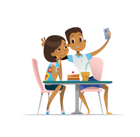 Two African-American girls and boy meeting at the cafe a and taking selfie. Teenagers friends at the restaurant taking photo on phone. Smiling students having coffee-break and taking self-portrait.