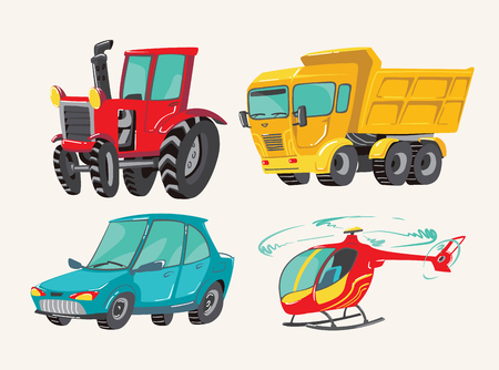 Funny cute hand drawn cartoon vehicles. Baby bright cartoon helicopter, big truck, car, and tractor. Transport child items vector illustration on light background Illustration