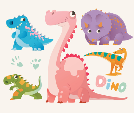 Collection of cute dino. Set 1 of colorful dinosaurios. Vector illustration. Illustration