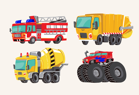 Funny cute hand drawn cartoon vehicles. Bright cartoon fire truck, fire engine, garbage truck, concrete mixer truck, and monster truck. Transport child items vector illustration on light background.