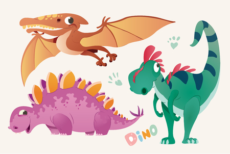 Collection of cute dino and Pterodactylus. Set 1 of colorful dinosaurios and Pterodactyl. Vector illustration Illustration