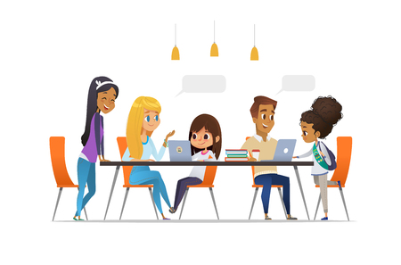 Computer Science Club. Happy children and students sitting at laptops talk to each other and learning programming. Coding for kids concept. Vector illustration for website, advertisement, poster