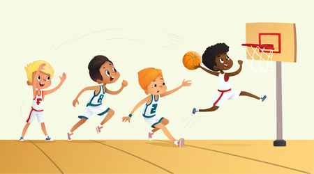 Vector Illustration Of Kids Playing Basketball. Team Playing Game. Team competition. 矢量图像
