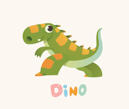 Cute Pink Cartoon Baby Dino. Bright Colorful dinosaur. Childrens illustration. Isolated. Vector illustration