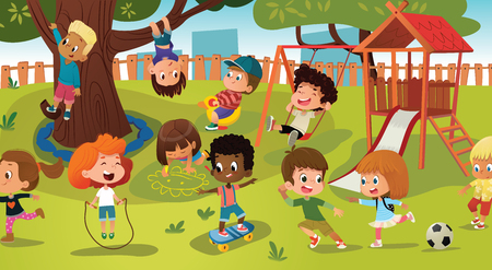 Group of kids playing game on a public park or school playground with with swings, slides, skate, ball, crayons, rope, playing catch-up game. Happy childhood. Modern vector illustration. Clipart. Ilustração