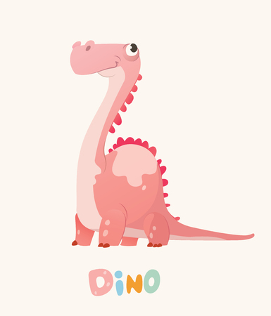 Cute Pink Cartoon Baby Dino. Bright Colorful dinosaur. Childrens illustration. Isolated. Vector.