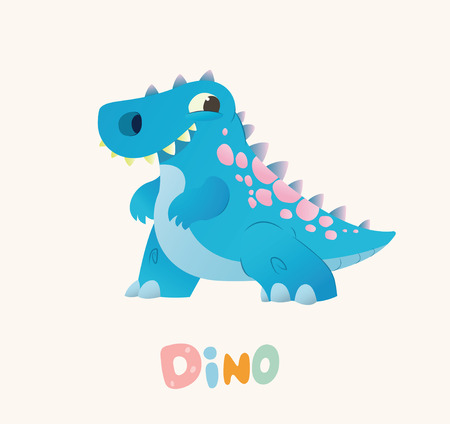 Cute Blue Cartoon Baby Dino. Bright Colorful dinosaur. Childrens illustration. Isolated. Vector illustration