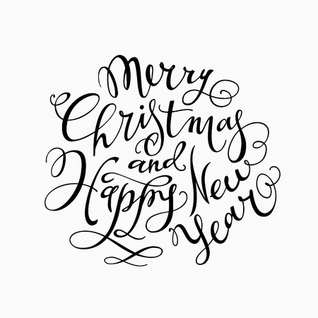 Merry Christmas and Happy New Year Hand- drawn Lettering based on a Brush Calligraphy Isolated on a White