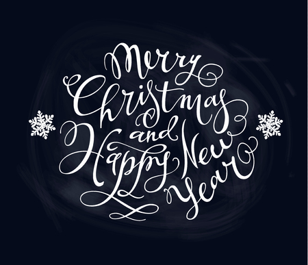 Merry Christmas and Happy New Year Hand- drawn Lettering based on a Brush Calligraphy on a black background. Gold Snowflakes on a black background. Vector. Imagens - 127727860