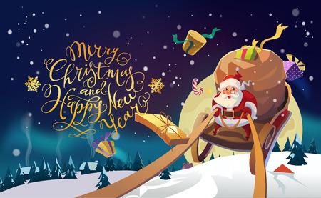Babbo Natale in un villaggio invernale a cavallo di una slitta nella foresta invernale. Sfondo di luci polari. Buon Natale e felice anno nuovo scritte. Illustrazione vettoriale.