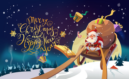 Santa in a Winter village riding on a sleigh in the winter forest. Polar Lights background. Merry Christmas and Happy New Year Lettering. Vector illustration. Vectores