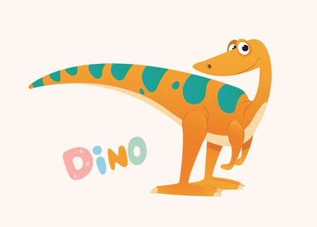 Cute Orange and Green Cartoon Baby Dino. Bright Colorful dinosaur. Childrens illustration. Isolated. Vector illustration