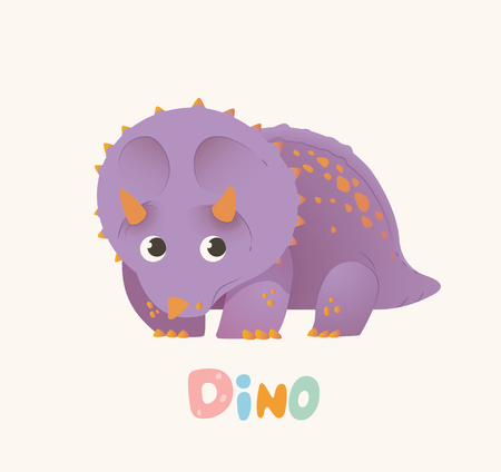 Cute Purple Cartoon Baby Dino. Bright Colorful dinosaur. Childrens illustration. Isolated. Vector illustration