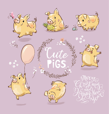 Set of Cute Tiny Yellow Pig in different poses. Dancing piggy, pig with the balloon. New Year Symbol of Chinese calendar. The year of the pig Illustration