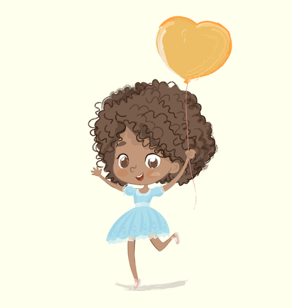 Cute African-American happy girl with the balloon and birthday hat wearing blue dress happily jumping with their hands up. Birthday party character vector illustration for website banner, poster, flyer, invitation