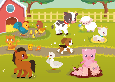 Cute Baby Farm animals with landscape - cow, pig, sheep, horse, rooster, chicken, hen, goose, goat, cat, dog. Cute cartoon vector illustration in flat style