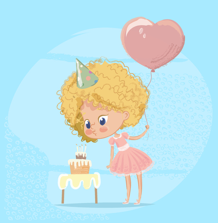 Baby Girl Blowing Birthday Cake Candle. Cute Blond Girl Character wearing pink Celebrate Birth Party. Cute girl Holding Balloon. Poster Design for Print. Flat Cartoon Vector Illustration Imagens - 127138760