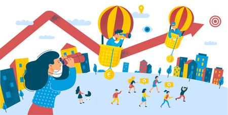 Wachstum der Mitarbeiterinvestitionen für Dividendengewinne. Stadtszene Gruppe von Menschen Gelegenheit Geld investieren Konzept zu erhöhen. Auf der Suche nach Erfolg. Flache Cartoon-Vektor-Illustration Vektorgrafik