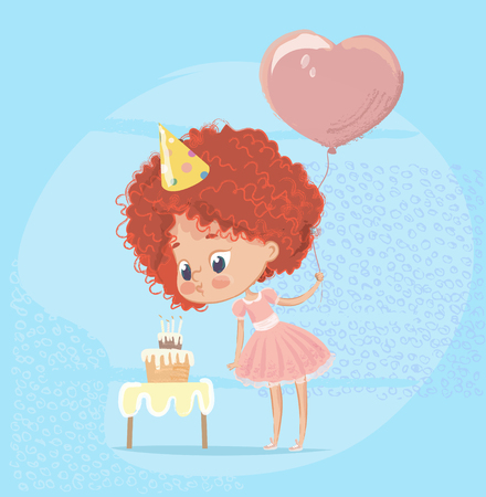 Girl Blowing Birthday Cake Candle. Baby Character Celebrate Birth Party Holding Balloon. Flat Cartoon Vector Illustration