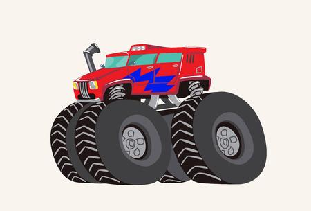 Funny cute hand drawn cartoon Monster Truck. Bright cartoon tractor. Vector illustration Imagens - 127138766