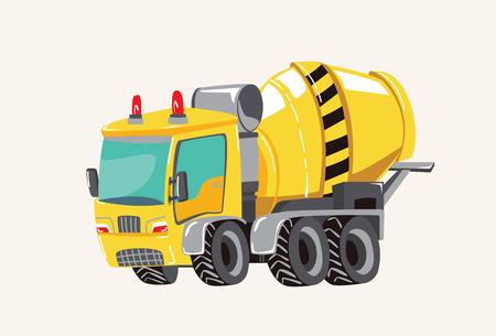 Funny cute hand drawn cartoon vehicles. Bright cartoon garbage truck, fire engine, Vector illustration Ilustração