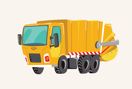 Funny cute hand drawn cartoon vehicles. Bright cartoon garbage truck, fire engine, Vector illustration Banque d'images - 127138770