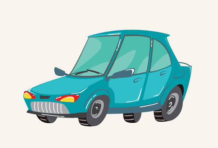 Funny cute hand drawn cartoon vehicles. Bright cartoon car. Vector illustration Ilustração