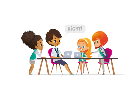 Happy girl scouts and female troop leader learning programming during lesson, Concept of coding for children in scouting camp. Vector illustration Illustration