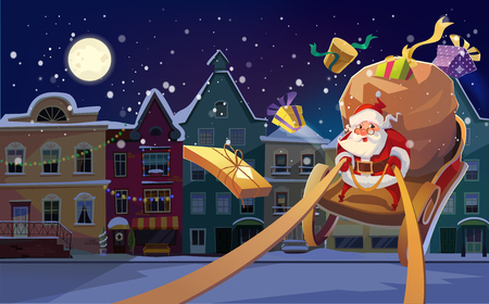 Christmas Card. Christmas background with Santa driving his sleigh and gives presents and gifts. Winter night city in the bacground. and copyspace the text Imagens - 127138775