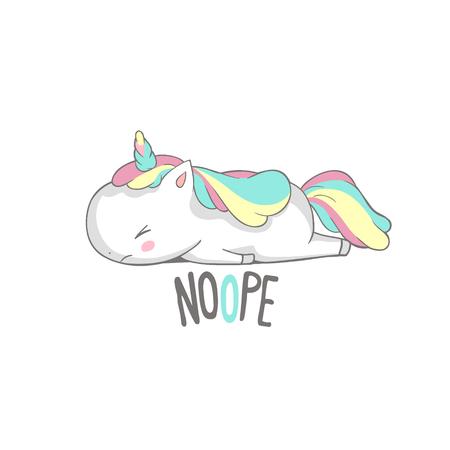 Unicorno arrabbiato triste bugie dire no Poster Design. Piccolo sonno sveglio del cavallo del corno stanco. Il carattere divertente pigro si rilassa su bianco. Può essere utilizzato per la stampa di t-shirt, abbigliamento per bambini, invito alla doccia per bambini