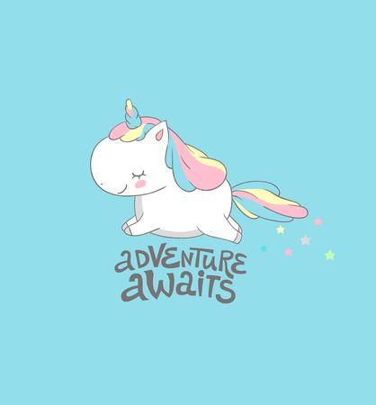 Positive Baby Unicorn Fly to Adventure Print. Morning Motivational Inspiration Summer Poster Colorful Design . Funny Cute Fantasy Pegasus Card Flat Cartoon Vector Illustration. Illustration