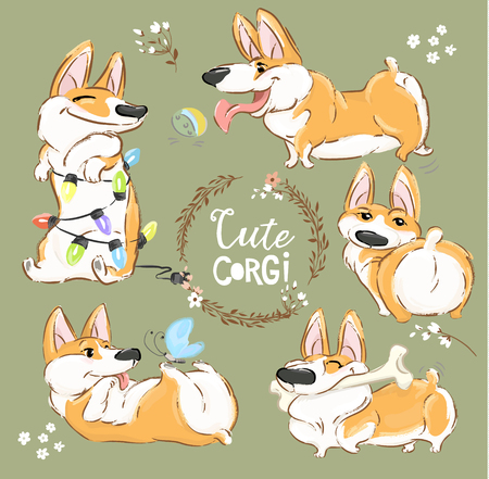 Cute Corgi Dog Character Cartoon Vector Set. Funny Short Fox Pet Group Smile, Play with Ball and Bone. Cheerful Happy Orange Puppy Flat Cartoon Collection for Print Poster Illustration