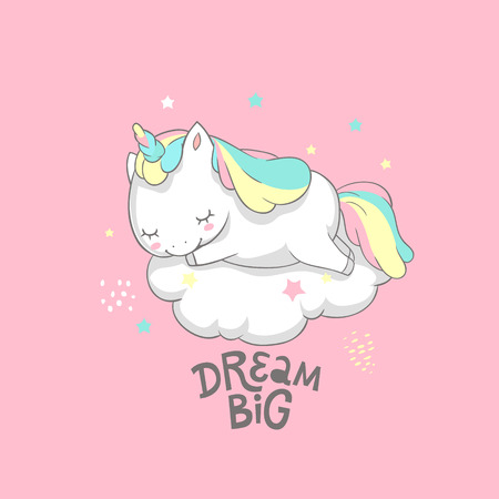 Unicorn Dream Big Fairy Poster Vector Template. Magic Inspirational Watercolor Print Template with Little Horn Pony Sleeping on Cloud. Fairy Motivation Printable Banner Flat Cartoon Design
