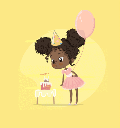 African American Kid Girl Blow Birthday Cake Candle Holding Balloon. Cute Baby Girl Blowing out Birth Party Cupcake. Child Preschool Character in Pink Dress Poster Card Design Flat Cartoon Vector.