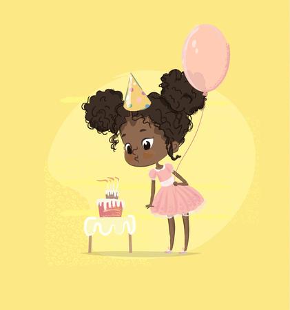 African American Kid Girl Blow Birthday Cake Candle Holding Balloon. Petite fille mignonne soufflant le petit gâteau de fête de naissance. Caractère préscolaire enfant en robe rose affiche carte Design plat vecteur de dessin animé.