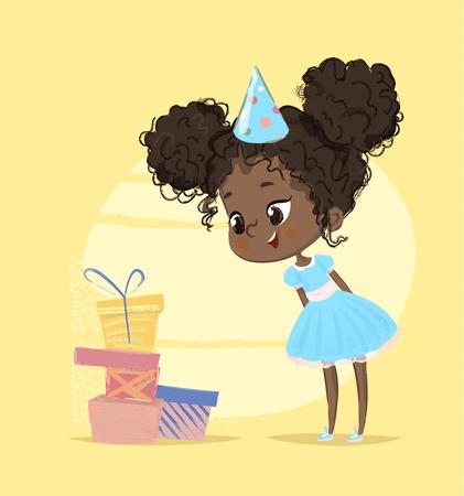 Glückliches Kindermädchen überrascht von der Geburtstagsgeschenkbox. Netter Kindercharakter, der nach verschiedenen Geschenken sucht. Kindheit Weihnachten Urlaub Feier Einladung Kartendesign. Flache Karikatur-Vektor-Illustration.