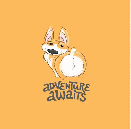 Illustration vectorielle de mignon chien Corgi caractère bout à bout. Vue arrière d'animal drôle de petit chiot pour l'impression de typographie. Peut être utilisé pour l'impression de t-shirt, les vêtements pour enfants, l'invitation à la fête prénatale