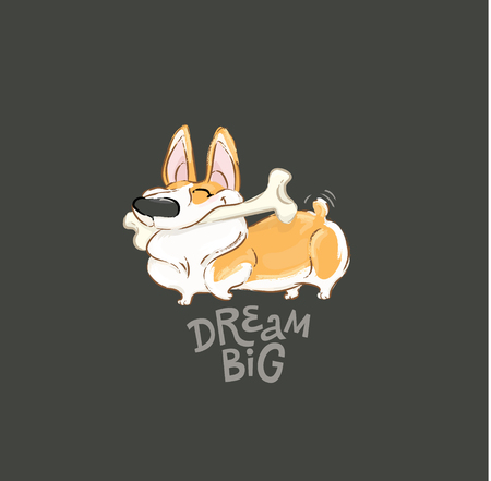 Happy Corgi Dog Play Bone Vector Poster. Funny Little Puppy Animal Dream Big Concept Typography Print Poster Design. Can be used for t-shirt print, kids wear fashion, baby shower invitation. Imagens - 126833428