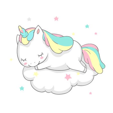 Unicorn Sleep Fairy Dream Poster Vector Template. Magic Card Watercolor Print Template with Little Horn Pony Sleeping on Cloud. Fairytale Printable Banner Flat Cartoon Design. Illustration