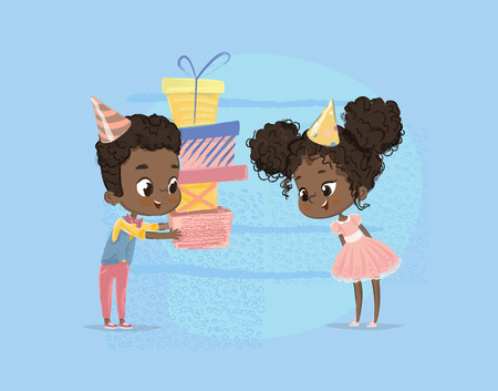 Smiling African American Child Boy Give Girl Birthday Gift Box. Brother Character Give Sister Surprise Present Poster Design. Happy Birth Party Celebration Flat Cartoon Vector Illustration.