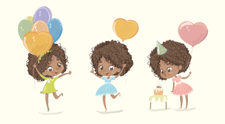 Cute African American Girl Blow Birthday Cake Candle Character Set. Happy Female Toddler in Dress Holding Balloon Celebration Poster Design. Stylish Child Anniversary Party Template Flat Cartoon Vector Illustration