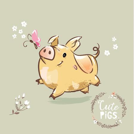 2019 Year Symbol Pig. Cute New year Sign for Banner . Christmas Golden Pig Poster Flat Cartoon Vector Illustration Illustration