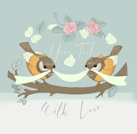 Bird Couple Cute Card with Vintage Flower. Beautiful Happy Birthday Greeting Circular Banner. Vector Party Invitation Cartoon Illustration.