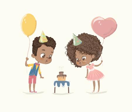 Personnages de fête d'anniversaire. Citez un garçon afro-américain soufflant une bougie sur un gâteau. Personnages d'enfants afro-américains soufflant le feu sur le petit gâteau. Les amis célèbrent l'illustration vectorielle de dessin animé plat. Vecteurs
