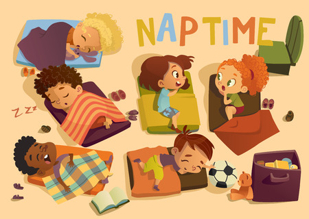 Nap time in the kindergarten. Group of multiracial girls and boys have a nip time at a colorfill nap mats. Preschool dream time. Two girls gossip during daytime sleep. Illustration