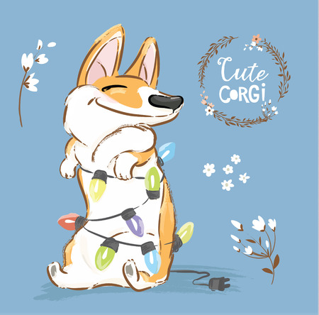 Corgi Dog Play Christmas Garland Vector Poster. Happy Fox Pet Character New Year Illustration Series with Flower. Little Orange Welsh Doggy Excited on Blue Background Flat Cartoon Print Banner.